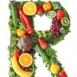 Fruit and vegetable alphabet - Stock Photo