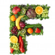 Fruit and vegetable alphabet — 图库照片