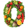 Fruit and vegetable alphabet — Stockfoto #5453431