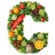 Fruit and vegetable alphabet — Stock fotografie