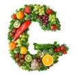 Fruit and vegetable alphabet — Stock Photo #5453441