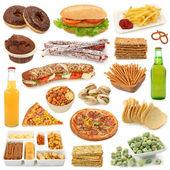 Kolekce nezdravé potraviny — Stock fotografie
