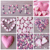 Sweet hearts collage — Stock Photo