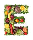 Alfabeto de fruta y verdura — Foto de Stock
