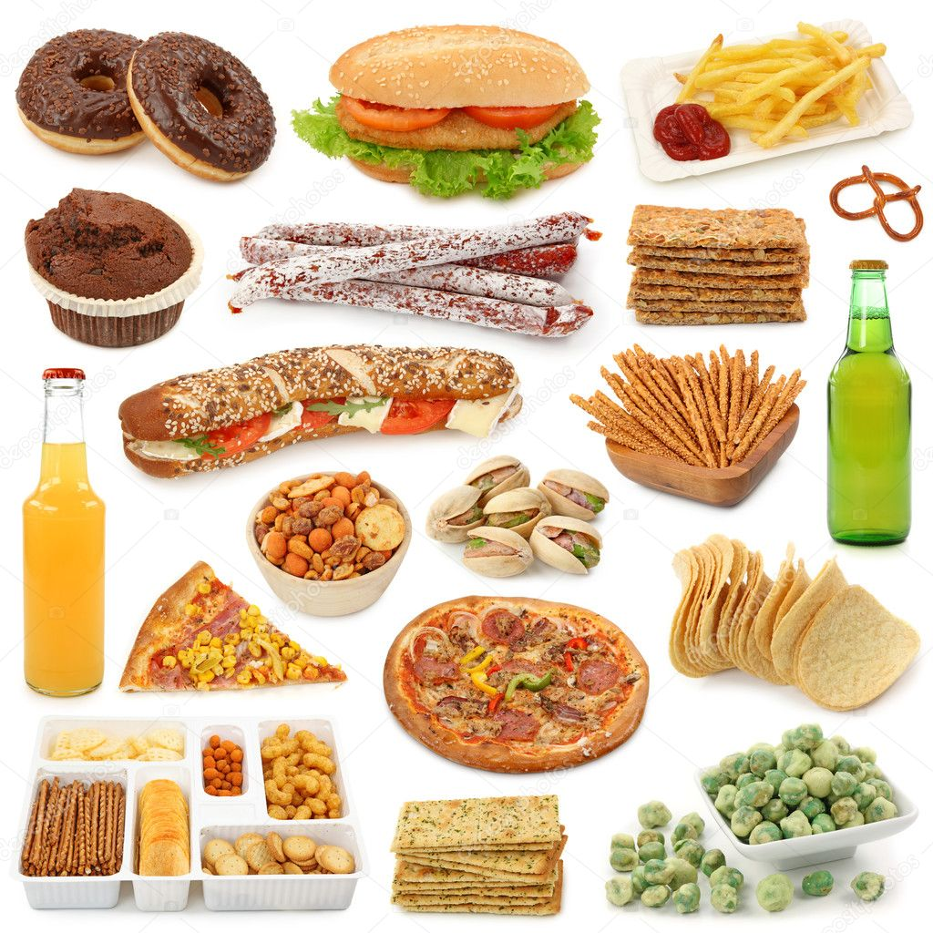 Junk food collection isolated on white background — Stock Photo #5451348