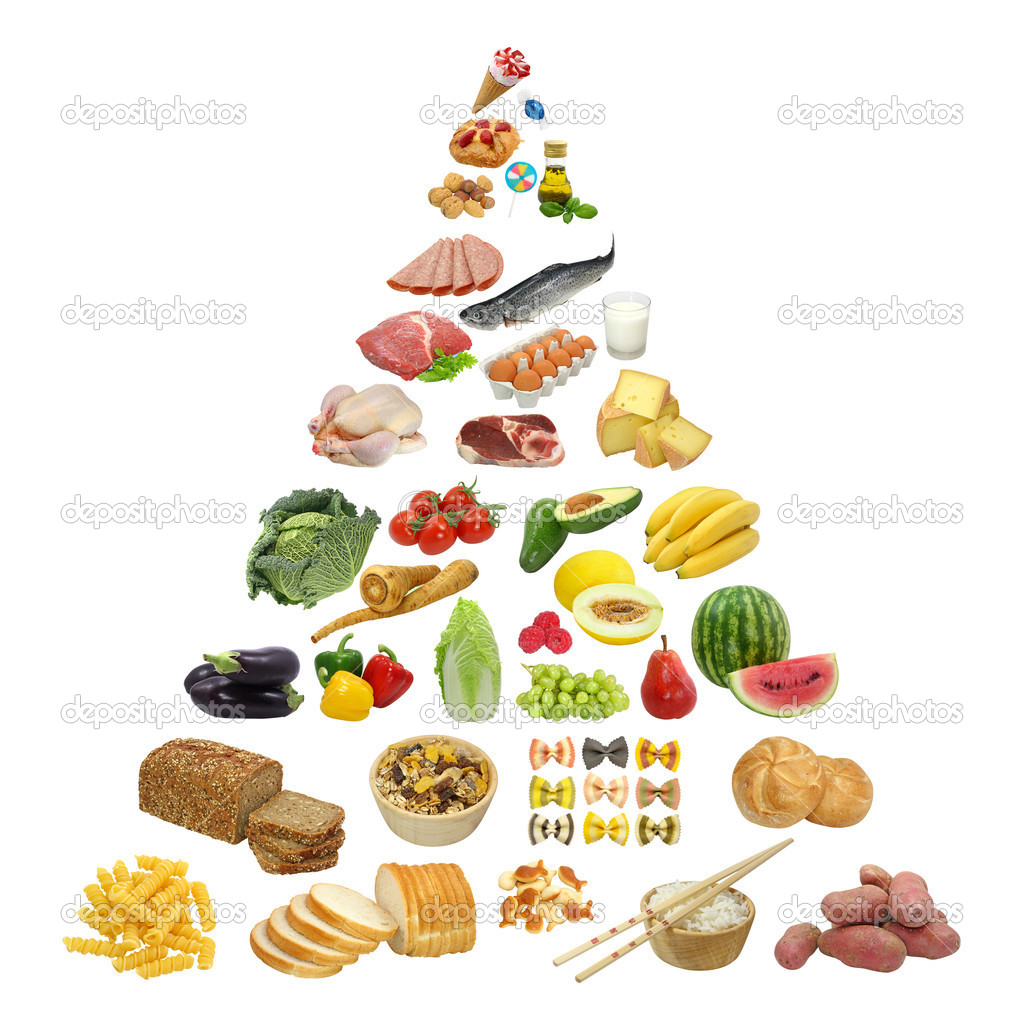 Food pyramid isolated on white — Stock Photo #5451416