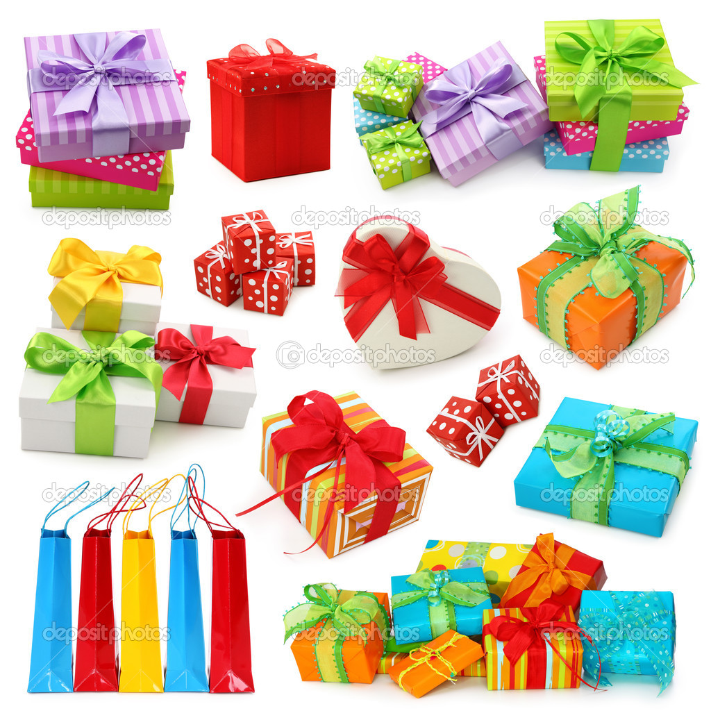 Gift boxes collection isolated on white background — Stock Photo #5451521