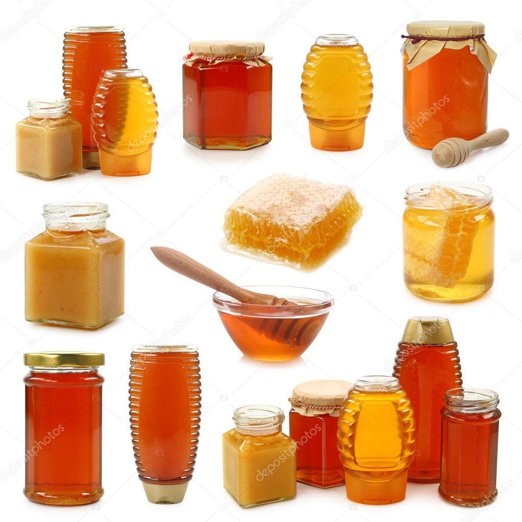 Honey collection isolated on white background  Stock Photo #5451577