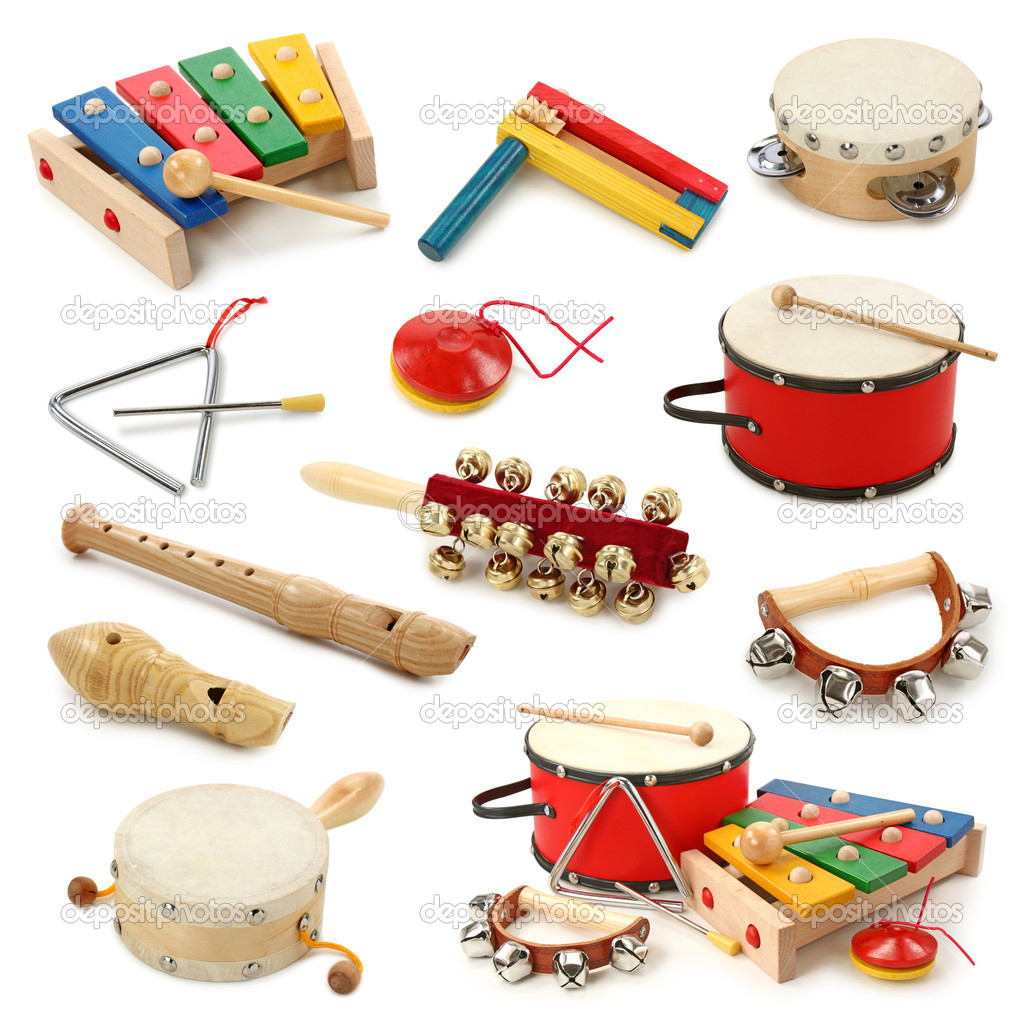 Musical instruments collection on white background — Stock Photo #5451698