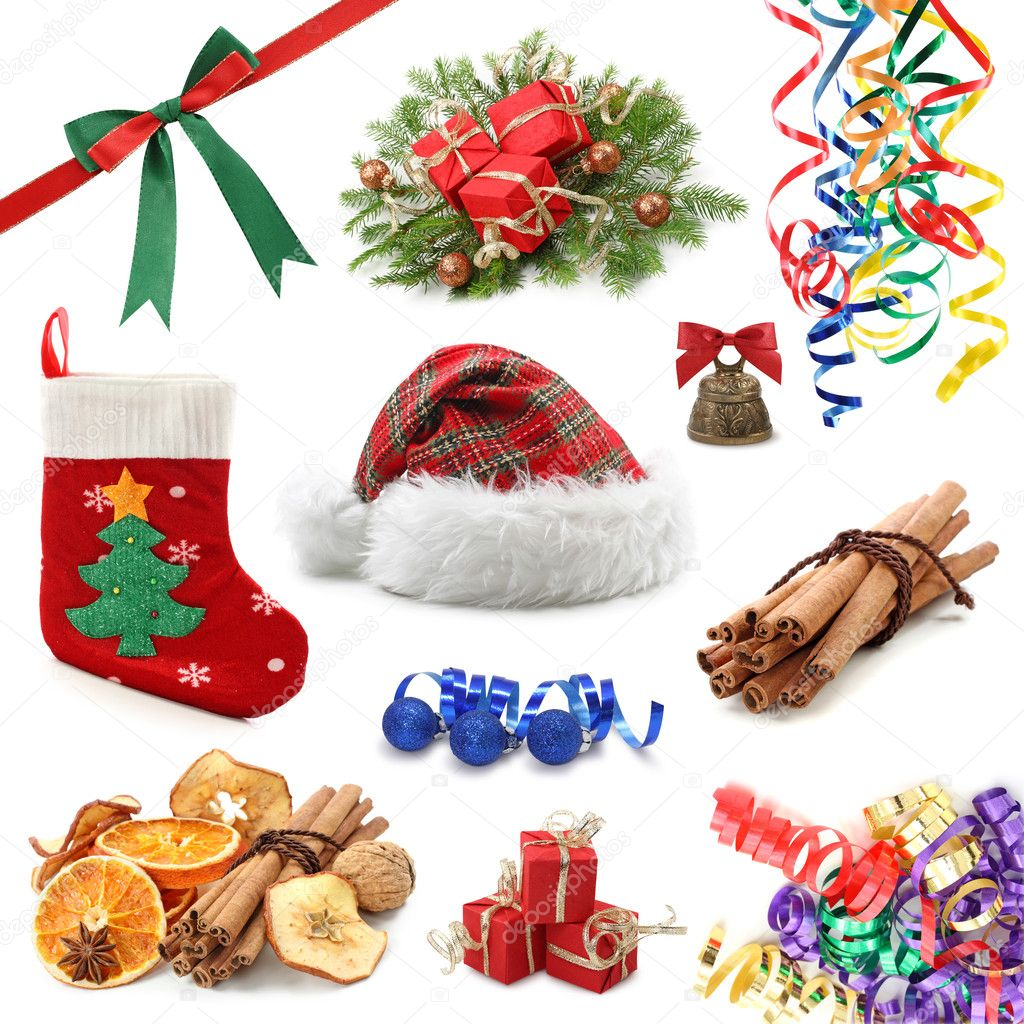 Christmas collection isolated on white background  Stock Photo #5452013