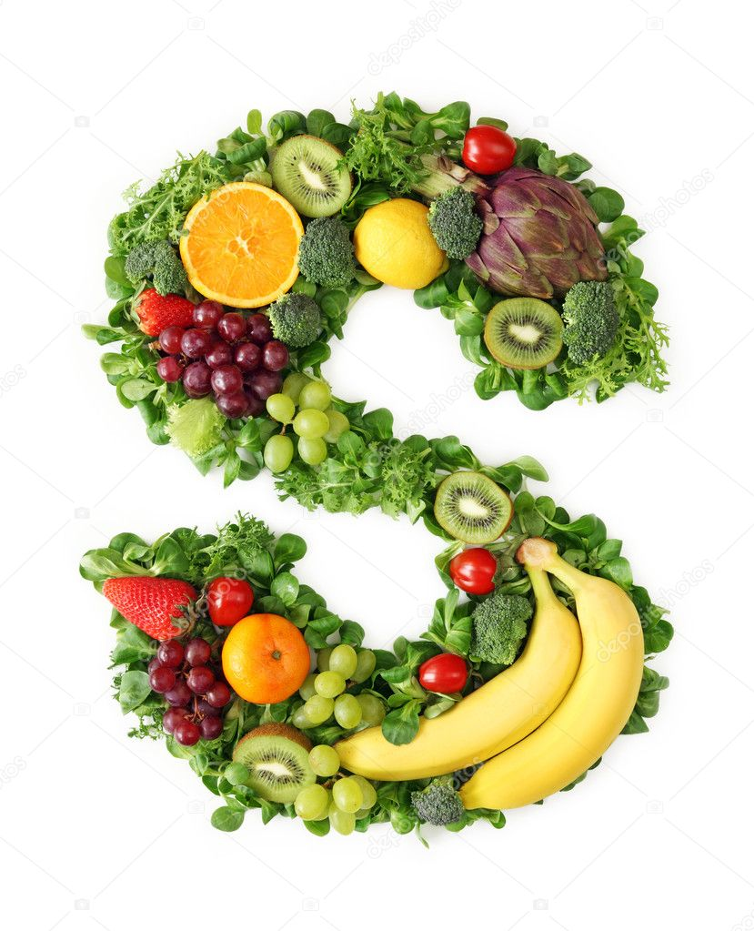 Fruit and vegetable alphabet — Stock Photo © egal #5453471