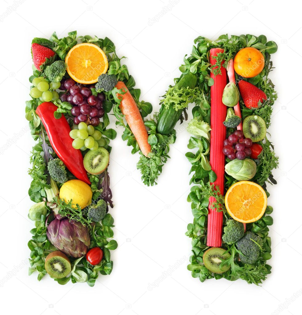 Fruit and vegetable alphabet — Stock Photo © egal #5453522