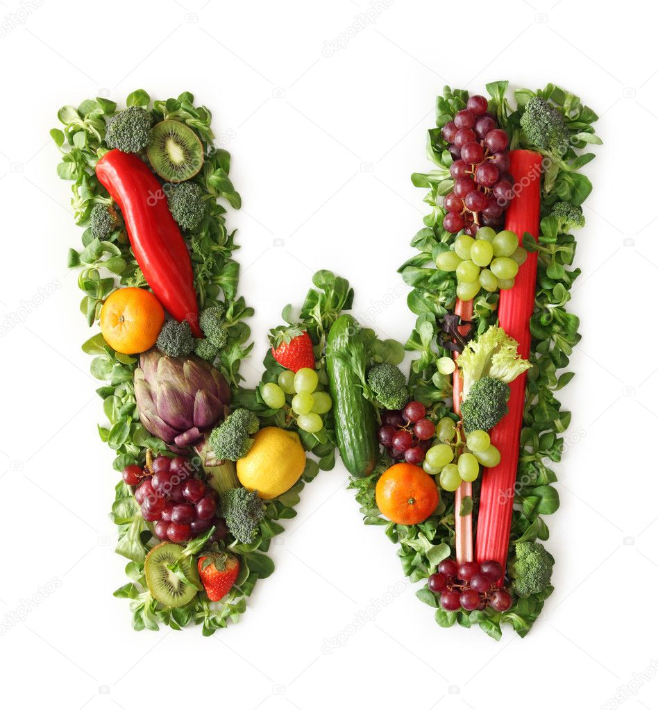 Fruit and vegetable alphabet — Stock Photo © egal #5463676