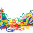 Party hats, paper streamer and whistles — Stock Photo