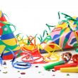 Party hats, paper streamer and whistles — Stock Photo #5525005