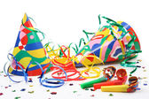 Party hats, paper streamer and whistles — Foto Stock