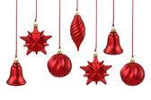 Červené vánoční ozdoby. — Stock fotografie