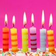 Stock Photo: Six birthday candles