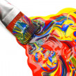 Paintbrush and mixed acrylic paint - Stock Photo