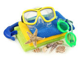 Swimming goggles and diving mask — Stock Photo