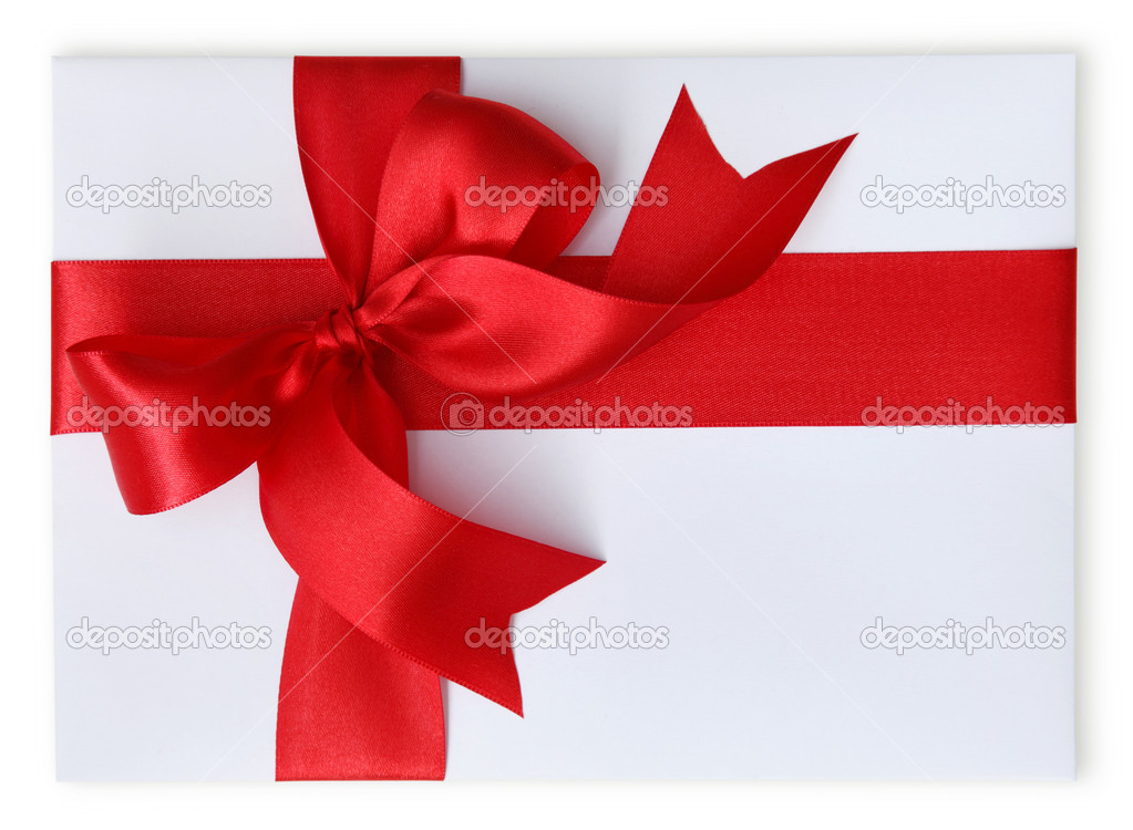 Present with red bow isolated on white background  Stock Photo #5566389