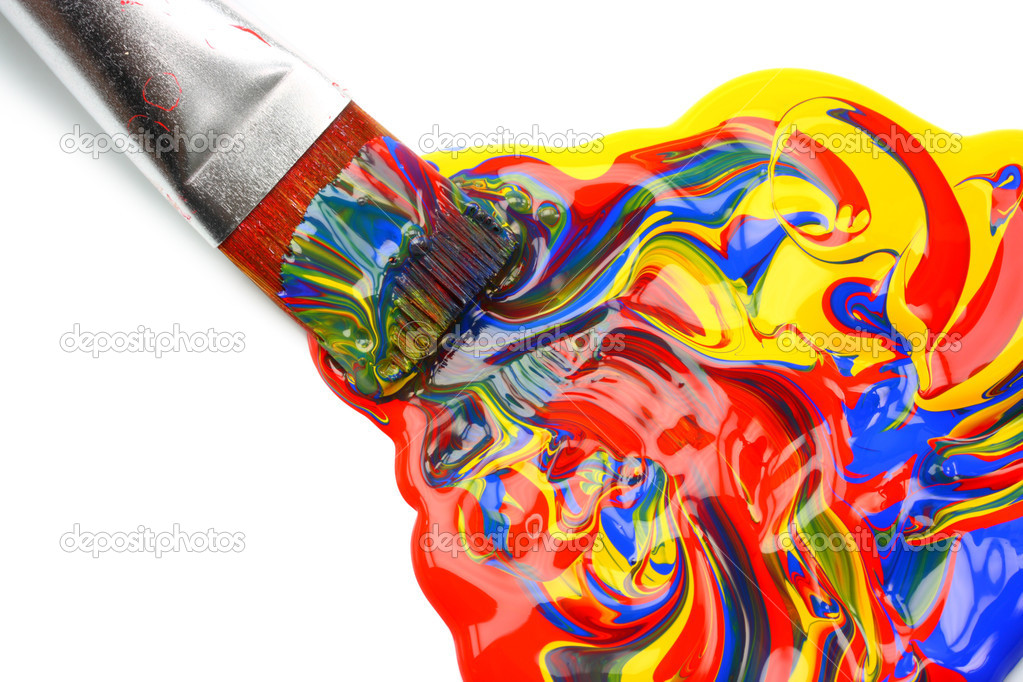 Paintbrush and mixed acrylic paint — Stock Photo #5567780