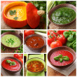 Collage of different soups — Stock fotografie