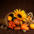 Cornucopia with pumpkins - Stock Photo