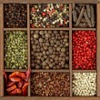 Assortment of peppercorns and chili — Stock Photo #6028025