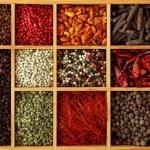 Assortment of peppercorns and chili — Stock Photo