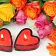 Two heart candles — Foto de Stock