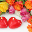 Two heart candles — Stock Photo