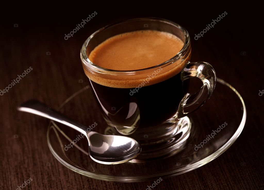 Espresso coffee on brown background  Stock Photo #6027703