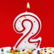 Number two birthday candle — Stock Photo #6032910