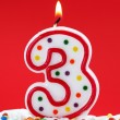 Number three birthday candle — Stock Photo
