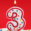 Royalty-Free Stock Photo: Number three birthday candle