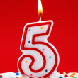 Number five birthday candle — Stock Photo