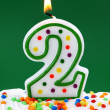 Number two birthday candle — Stock Photo