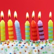 Stock Photo: Nine birthday candles