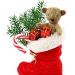 červená vánoční bota s dárkové krabičky a Medvídek — Stock fotografie