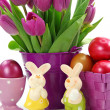 Stock Photo: Purple tulips in bucket and two rabbits