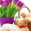 Stockfoto: Easter lamb cake and purple tulips