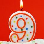 Number nine birthday candle — Stock Photo