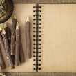 Open exercise book with pencils — Stock Photo