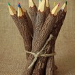 Bunch of wooden color pencils - Stock Photo
