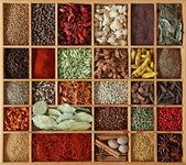 Especias en caja de madera — Foto de Stock