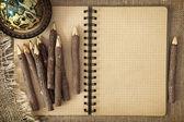 öppna skrivbok med pennor — Stockfoto