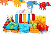 Colorful gift boxes and party hats — Foto Stock