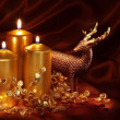 Christmas candles and decoration — Stock Photo