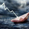 Sinking euro ship. — Stock Photo